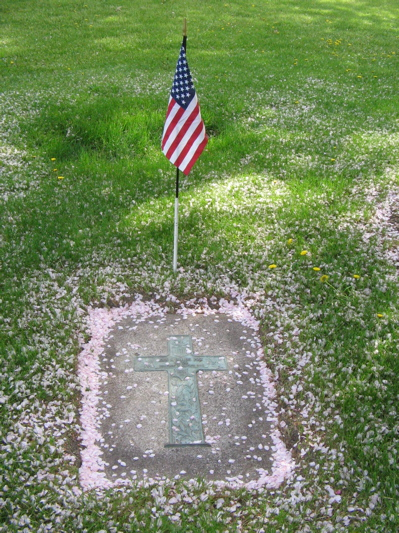 blossoms on a marker - with flag