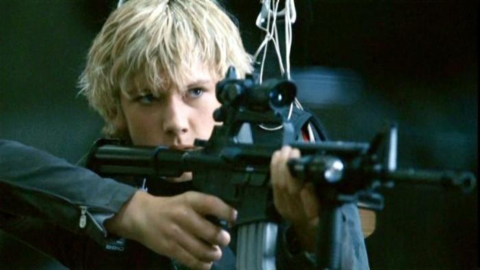 Scene from Alex Rider movie (boy with gun)